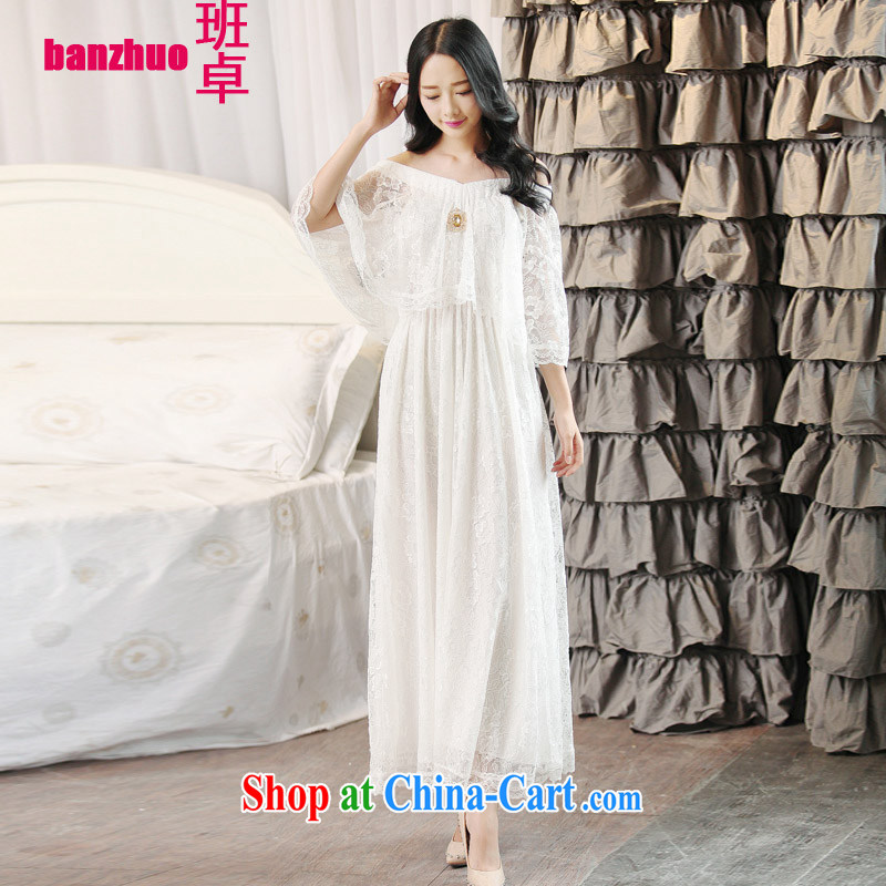 Class Cheuk-yan Fashionable dresses new lace sexy goddess Bohemia dress a field for your shoulders summer beach dress bridesmaid dress white L