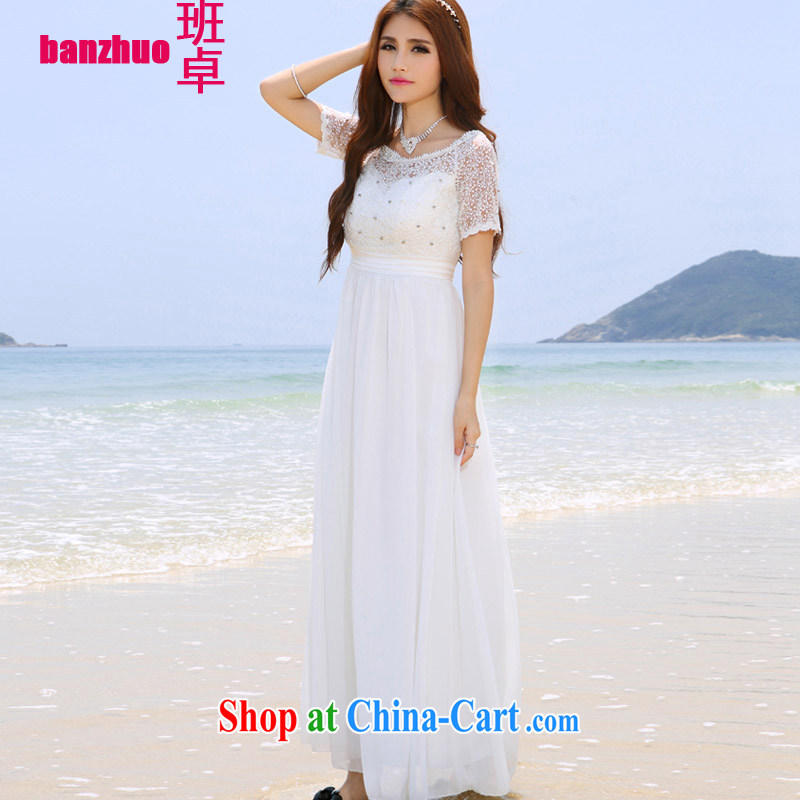 Class Cheuk-yan Korea Maldives beach dress wedding nails Pearl inserts drill dress long dress white XL