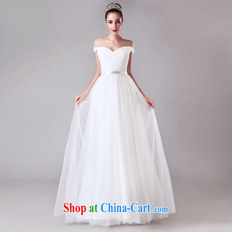 Jubilee 1000 bride summer 2015 New Field shoulder bridal wedding dresses shoulders with V collar wedding simple European-style white XL
