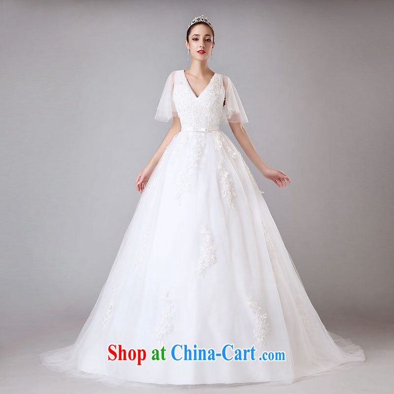 Jubilee 1000 bride summer 2015 New Field shoulder V collar wedding dresses tail marriage wedding with the cuff H 8002 white XL