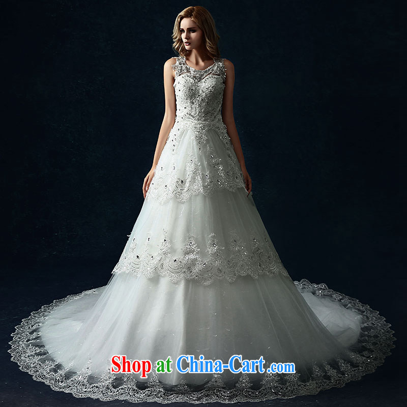Jubilee 1000 bride 2015 spring and summer new dual-shoulder wedding dresses bride Korean-style terrace back lace-the-tail long white XL