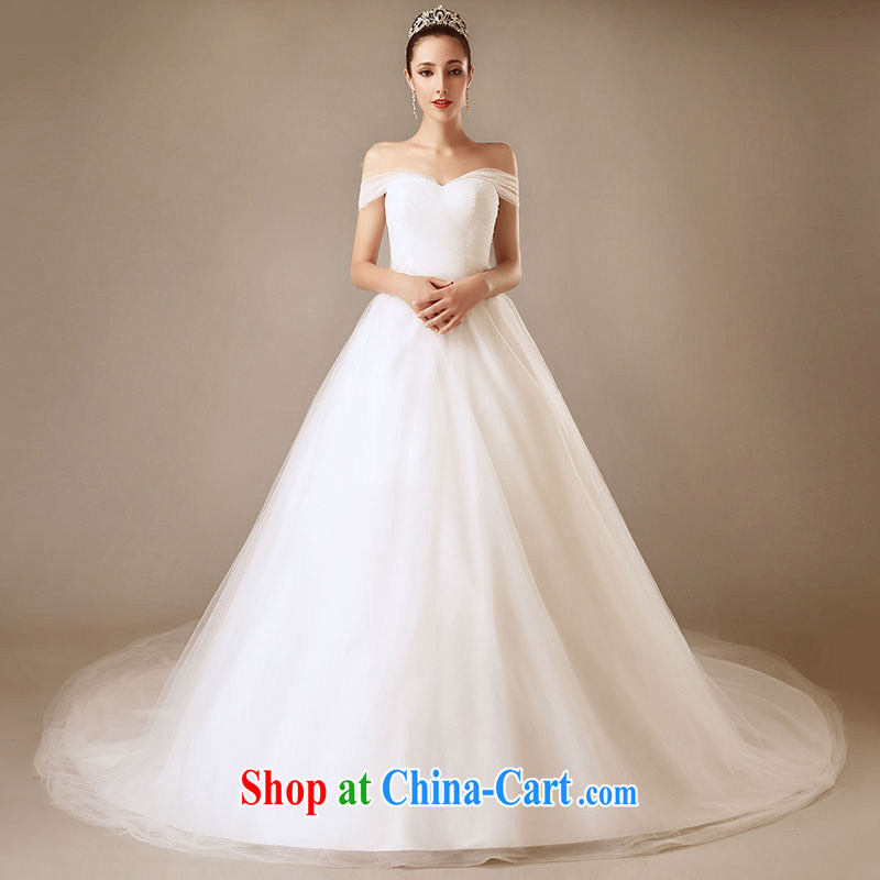 Jubilee 1000 bride 2015 new Europe simple and stylish white-tail dual pack shoulder a shoulder cultivating wedding dresses white XL