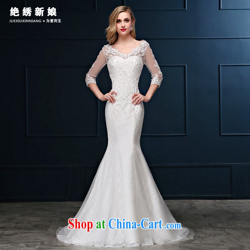 Summer 2015 new Korean lace package shoulder the code cultivating crowsfoot marriages cuff in small tail wedding dresses white S code 1 feet 9 waist Suzhou shipping