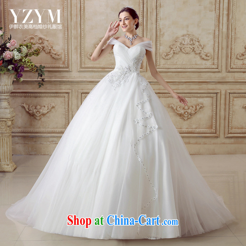 The drunken Yi Mei bridal wedding dresses the Field shoulder Phoenix flower embroidery tail wedding chest bare shoulders graphics thin wedding dresses 2015 summer new short drag wedding tail custom
