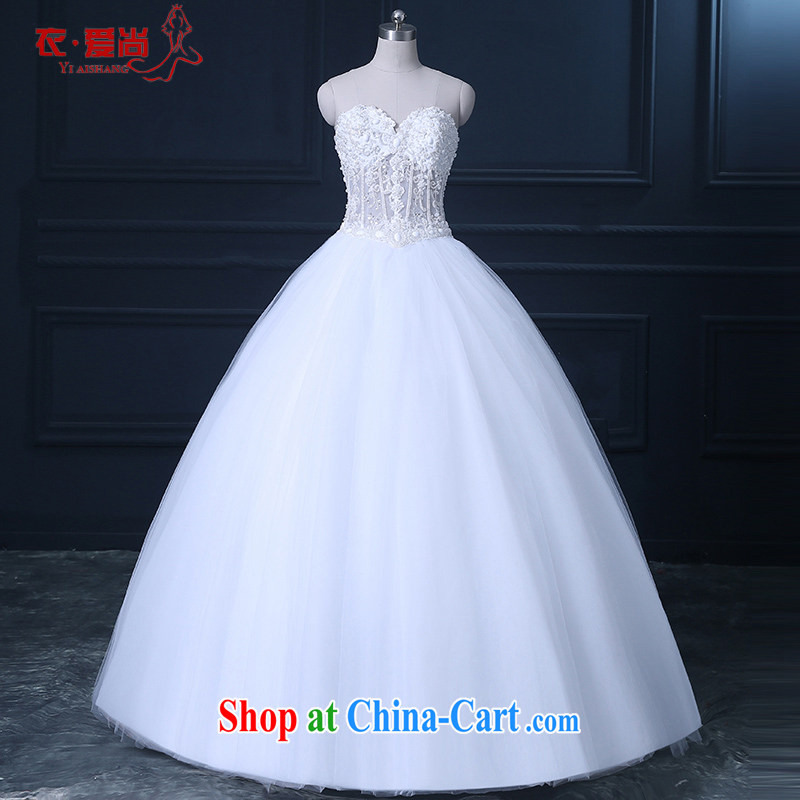 wedding dresses spring 2015 new Korean-style minimalist girl brides larger graphics thin with bare chest tail wedding summer drill white to make the $30 does not return