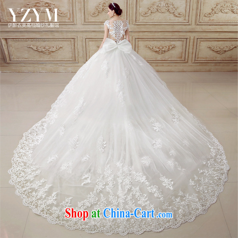 The drunken Yi Mei bridal wedding dresses 2015 summer new short-sleeve sexy exposed back with wedding removable tail lace Openwork flowers wedding dresses tail custom