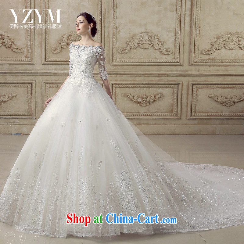 The drunken Yi Mei bridal wedding dresses summer 2015 new retro a shoulder-tail wedding in cultivating cuff lace drill with wedding dress bridal tail tail XL