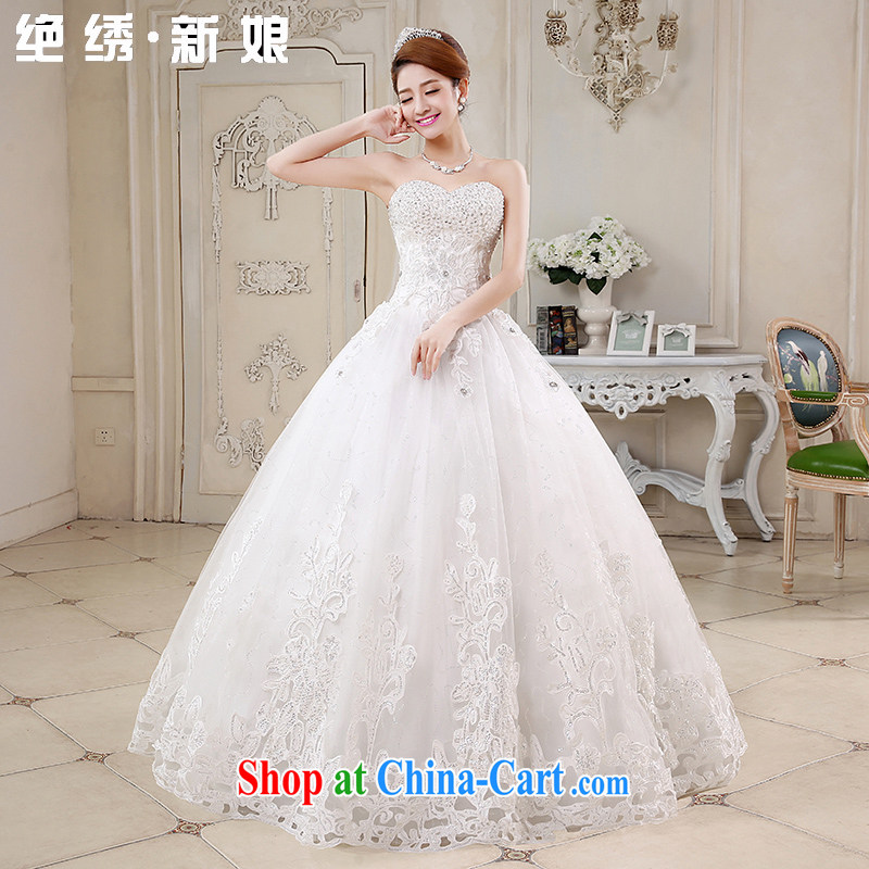 There is embroidery bridal wedding dresses 2015 New Luxury Water drilling Korean Princess Mary Magdalene chest Korean tie-wedding white XXXL 2 feet 4 waist Suzhou shipping