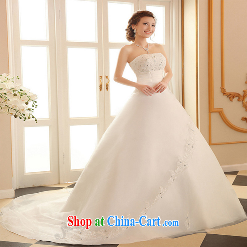 Qi wei wedding dresses 2015 summer new erase chest wedding band wedding tail wedding white wedding bridal marriage wedding tail ivory XXL