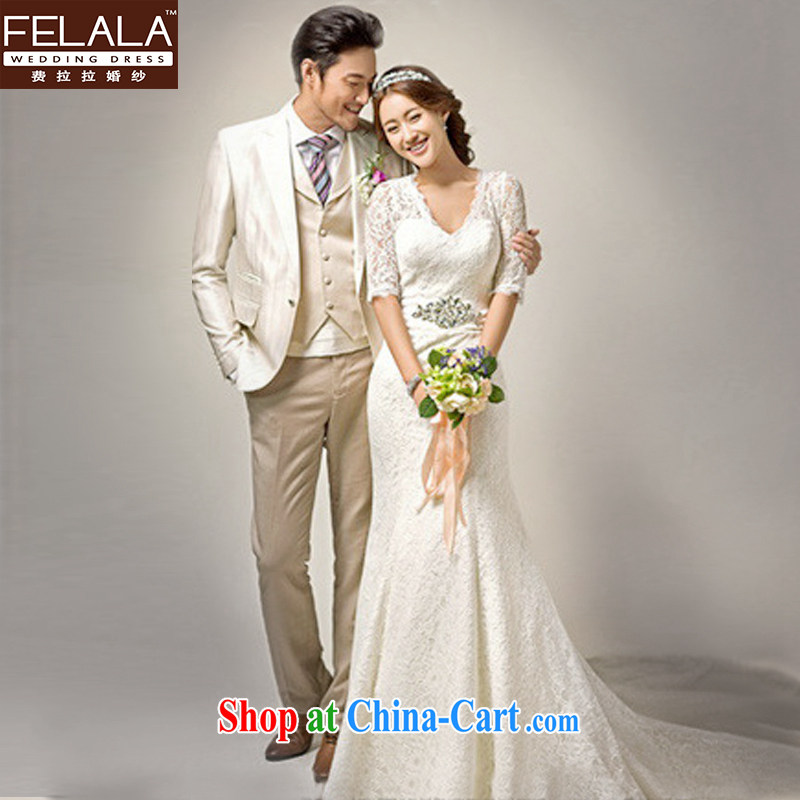 Ferrara upscale 2015 new wedding dresses wedding packages at Merlion shoulder winter wedding long-tail spring, female wedding S (1 feet 9)
