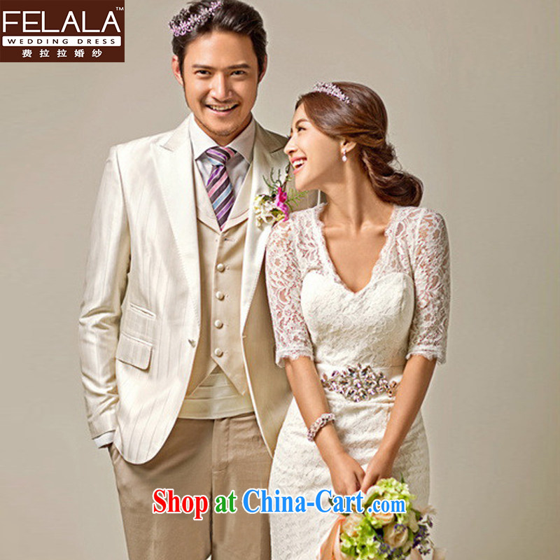 Ferrara upscale 2015 new wedding dresses wedding packages at Merlion shoulder winter wedding long-tail spring, female wedding S (1 feet 9), Ferrara wedding (FELALA), shopping on the Internet