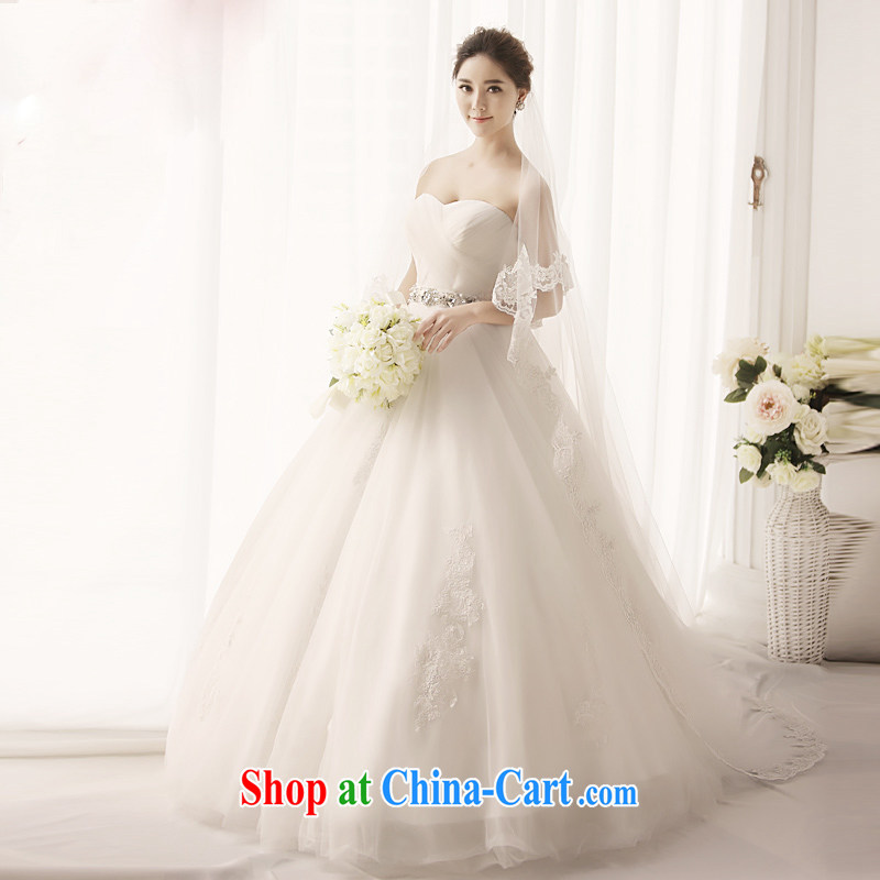 Full court, 2015 new Mary Magdalene church chest Princess retro deluxe wedding dresses shaggy skirt tails, Japan, and South Korea wedding S 1393 tail 60 CM 173 - M
