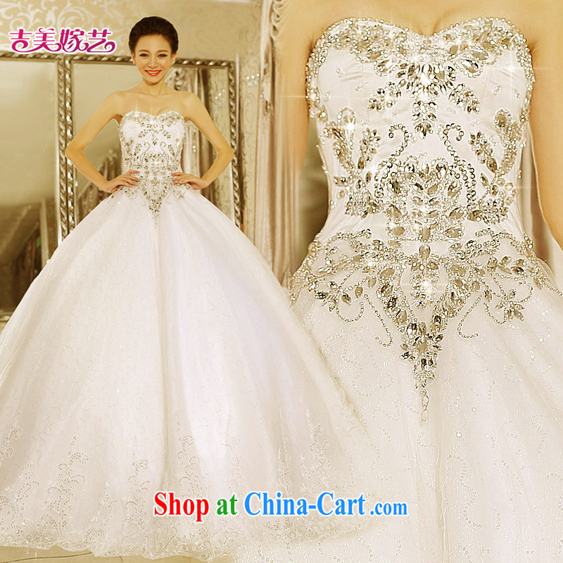 Jimmy married arts wedding dresses 2015 new Korean version wiped chest shaggy dress with parquet drilling 7645 bridal wedding white S