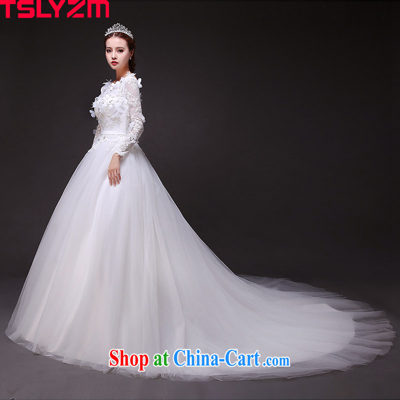 Tslyzm bride-tail wedding dresses Summer, Autumn 2015 new long-sleeved package shoulder-neck flower fairies graphics thin wedding and tail, XXL