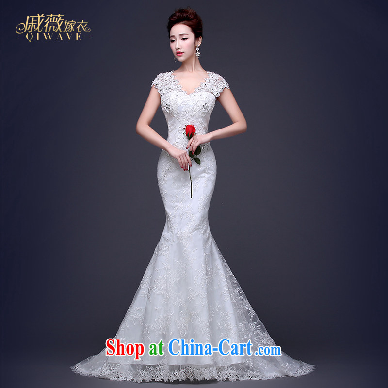 Qi wei summer 2015 new wedding dresses Korean Beauty graphics thin married a field shoulder crowsfoot wedding summer trailing double-shoulder white custom plus $50