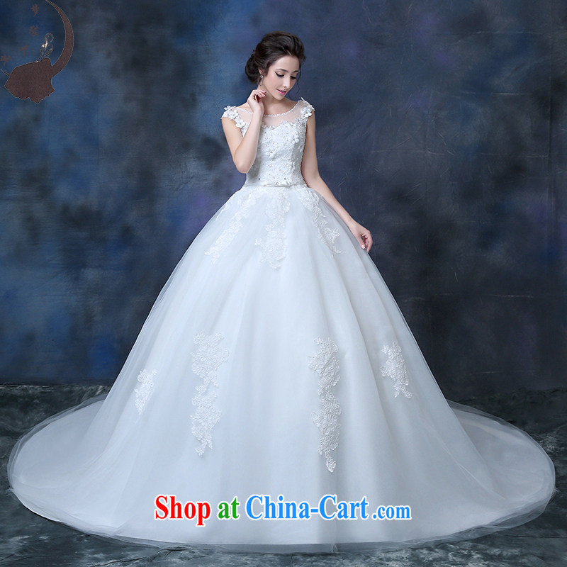 wedding dresses 2015 summer new bride with drag and drop a field package shoulder flowers graphics thin luxury parquet drill Korean-style white-tail, tailored