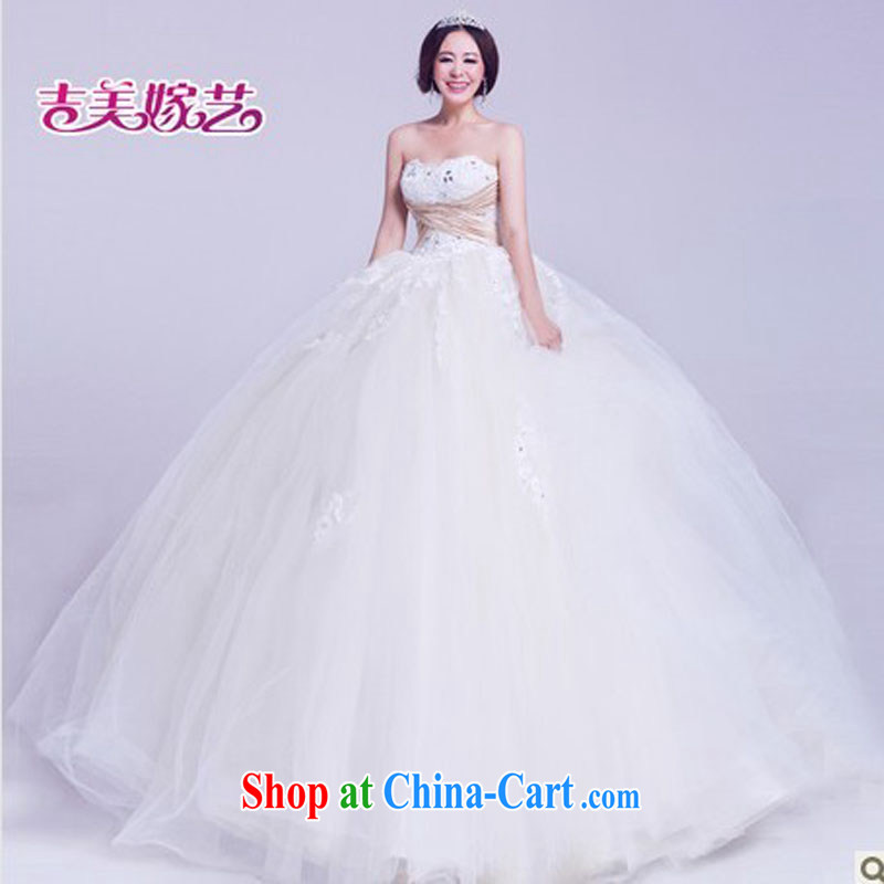 wedding dresses Jimmy married arts 2015 new erase chest Korean shaggy dress with HS 822 bridal wedding white L