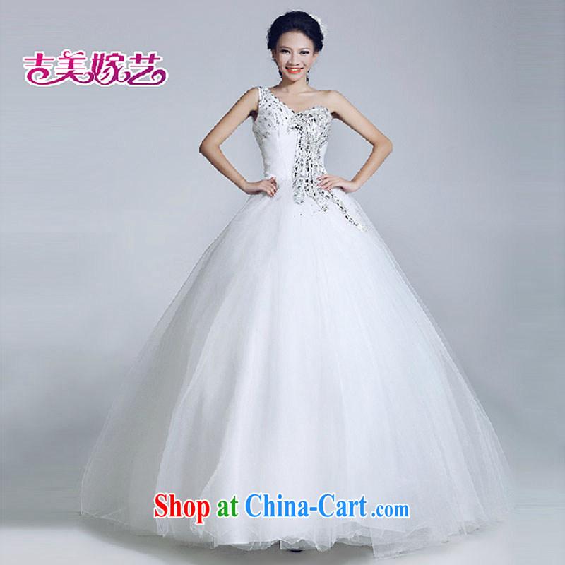 wedding dresses Jimmy married arts 2015 new single shoulder Korean shaggy dress with HS 6025 bridal wedding white XL