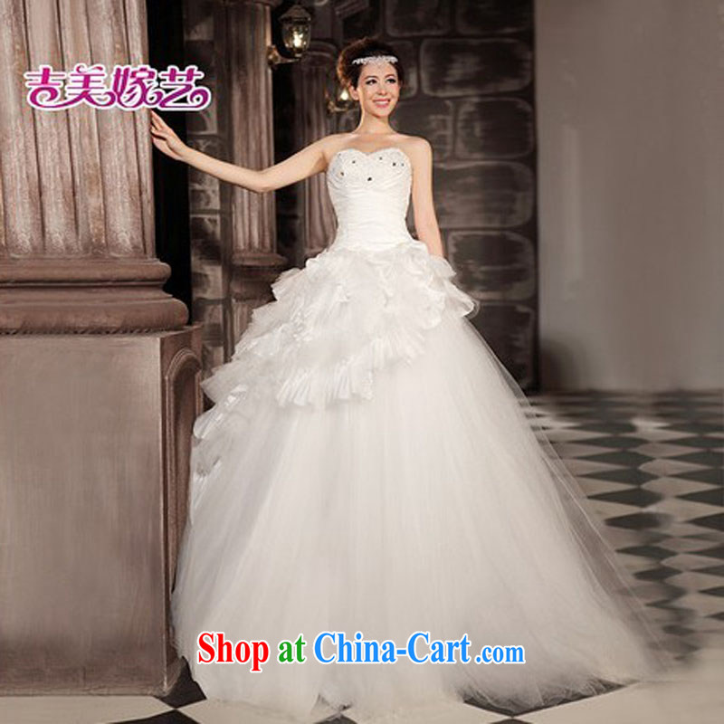 wedding dresses Jimmy married arts 2015 new single shoulder Korean shaggy dress with HS 832 bridal wedding white XXL