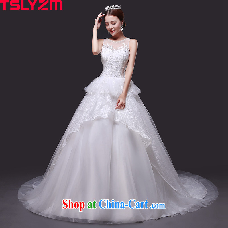 Tslyzm shoulders tail wedding 2015 new summer Korean white beauty wedding dresses bridal fluoroscopy round-collar lace wedding dress and tail, XXL
