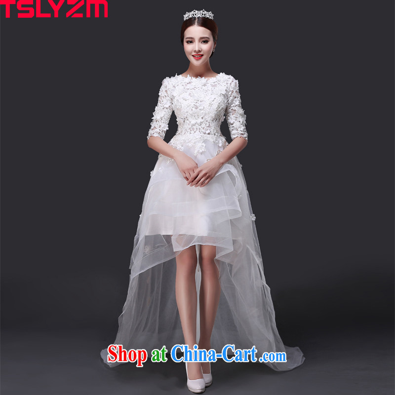 Before Tslyzm short long wedding dresses the tail of the Field shoulder 2015 new summer and autumn round-collar package in shoulder cuff lace wedding dress white XXL