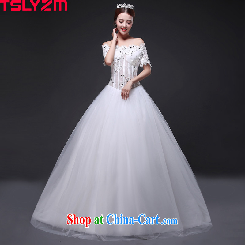 Tslyzm wedding wedding dresses-tail alignment to marriages Korean version with short-sleeved Princess shaggy dress 2015 new summer and autumn to align paragraph XXL B