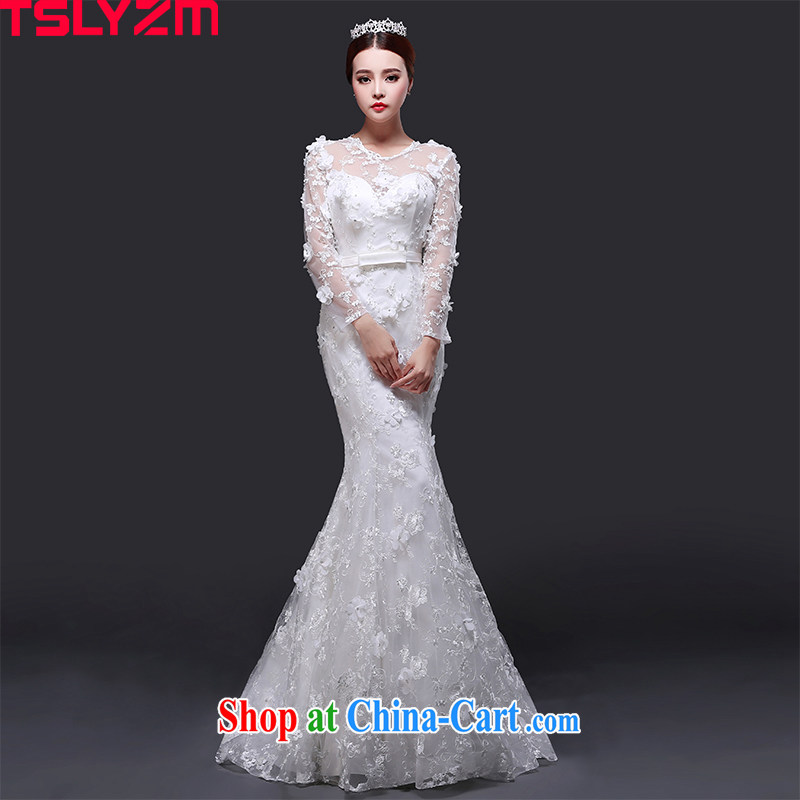 Tslyzm crowsfoot wedding dresses small drag and drop the new 2015 flower fairies round-collar long-sleeved Korean Beauty graphics thin Princess dress with XXL paragraph