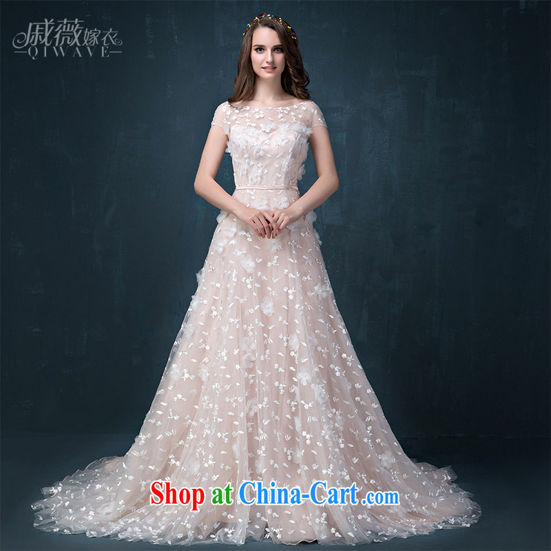 Ms Audrey EU Qi 2015 summer new, pink and white Korean-cultivating a field shoulder bridal with double-shoulder wedding dresses trailing lace pack shoulder strap wedding female white S