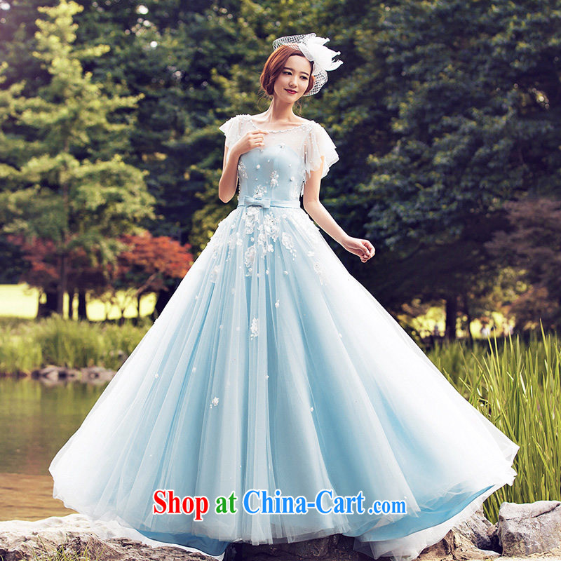 wedding dresses 2015 summer continental with wedding double-shoulder wedding tail 2611 blue DZ tailored plus 20 per cent