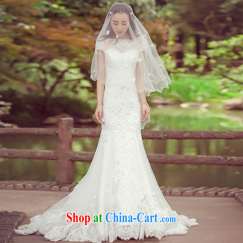 The bride's wedding dresses summer 2015 New Products lace wedding tail 2578 white DZ tailored plus 20 per cent