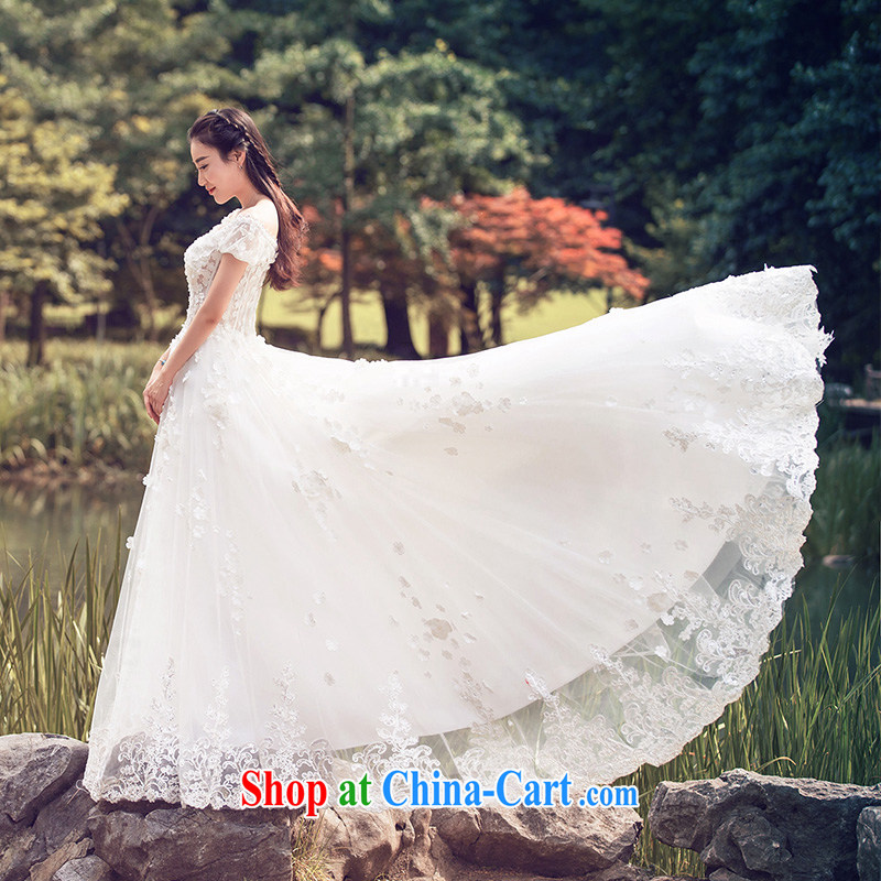 wedding dresses 2015 summer lace crowsfoot wedding shawl wedding long-tail 2608 white DZ tailored plus 20 per cent