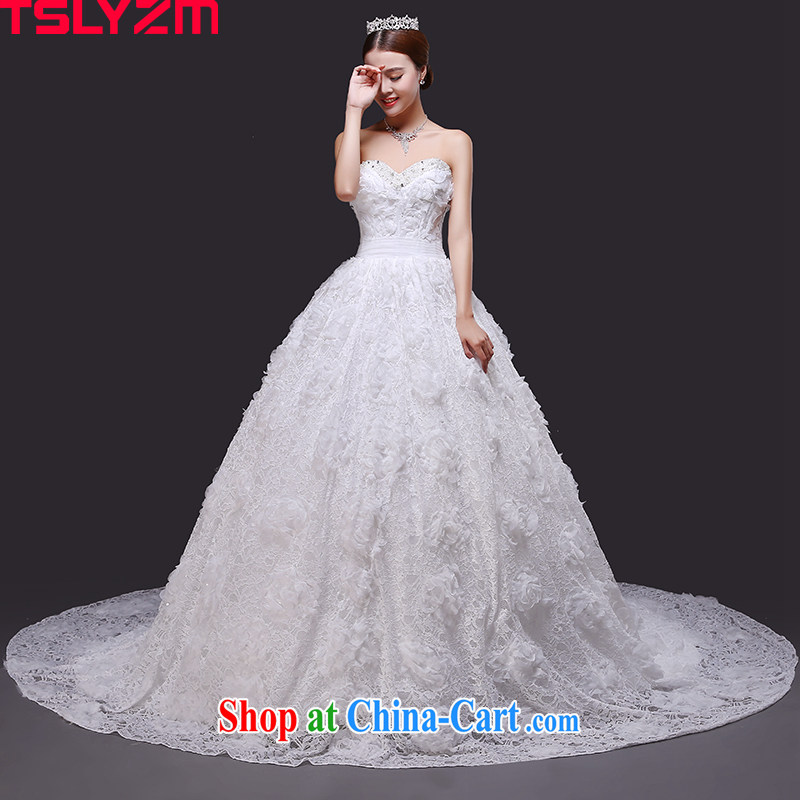2015 Tslyzm new wiped his chest and tail wedding dresses summer bridal parquet drill flower fairies lace flowers wedding dresses skirt and white tail, XXL