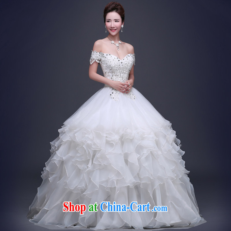Jie MIA wedding dresses 2015 new summer field shoulder with shaggy dress wedding shoulders the beauty, bridal wedding white XXL