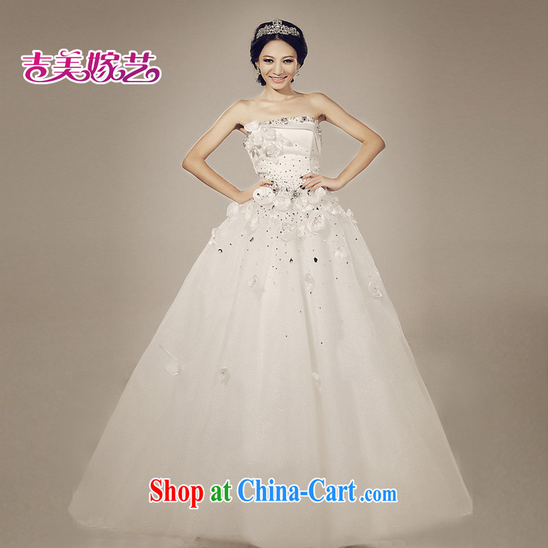 Water drilling wedding dresses Jimmy married arts 2015 new erase chest Korean Princess graphics thin tail 892 bridal wedding white XXXL