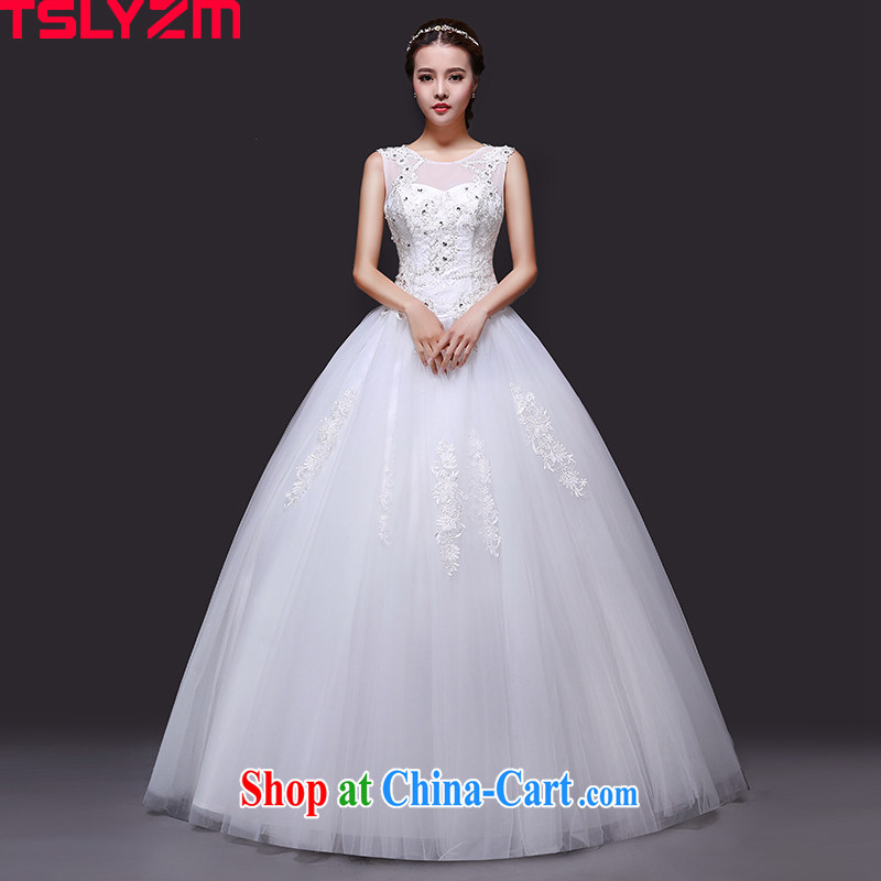 Tslyzm marriages wedding white with canopy Princess skirts 2015 new summer round-collar double-shoulder lace wedding dress home yarn white XXL