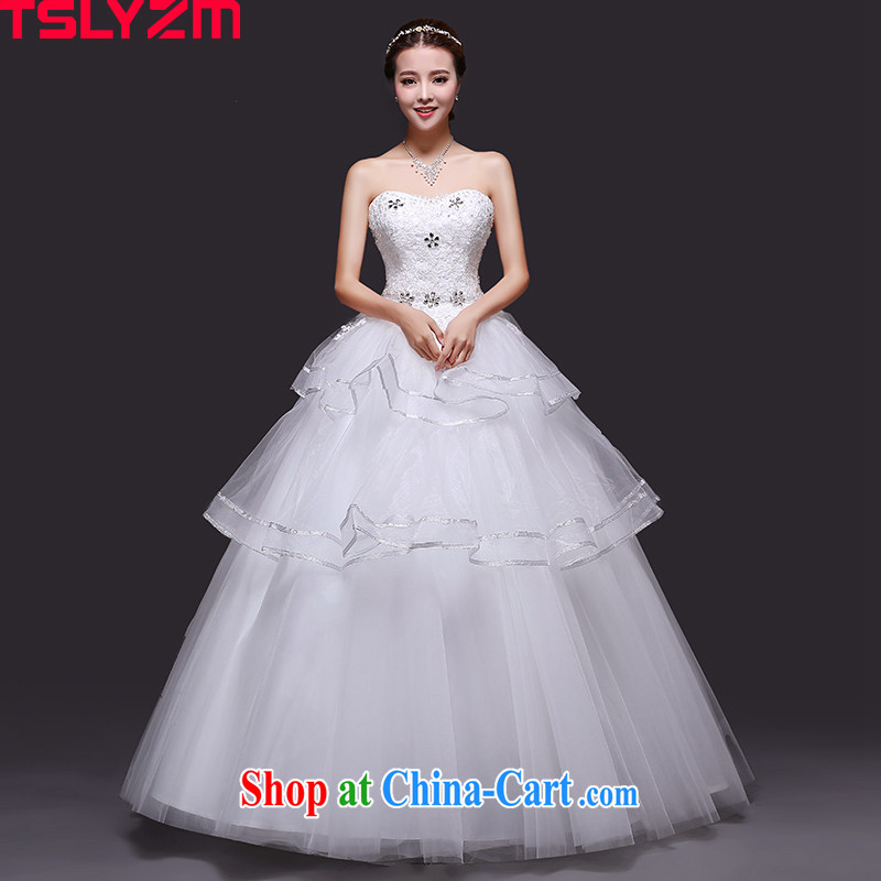 2015 Tslyzm new mother wiped his chest, wedding dresses summer new parquet drill lace white shaggy dress white XXL