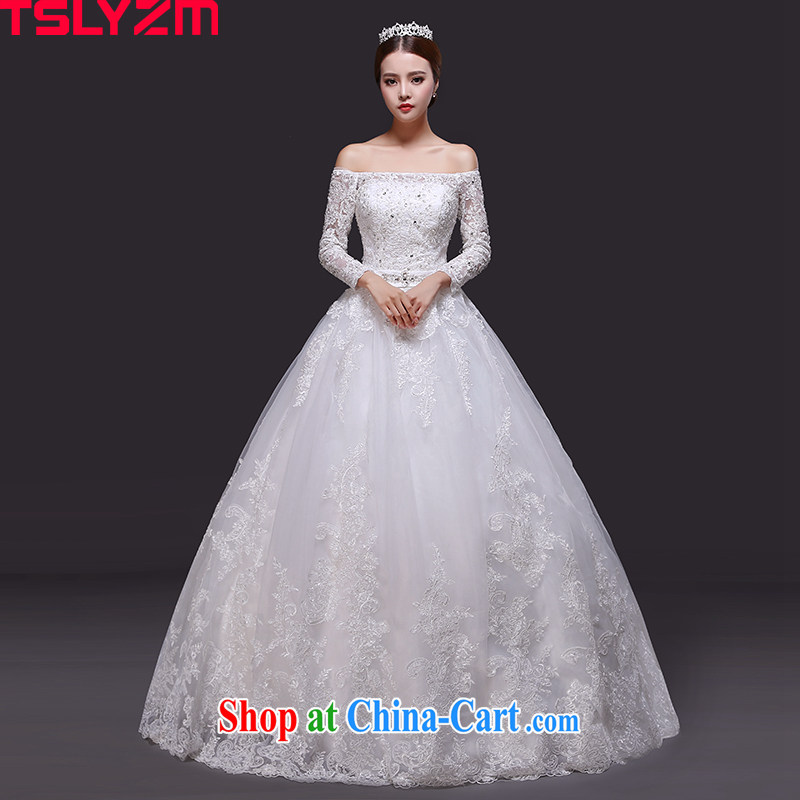 A Tslyzm field shoulder wedding dresses the tail 2015 new summer and autumn marriages long-sleeved lace Korean video thin wedding canopy skirts with XXL paragraph