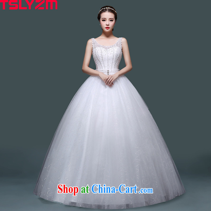 Tslyzm bridal wedding dresses 2015 new fluoroscopy shoulders with wedding dresses Korean video thin-waist white Pearl Princess shaggy dress summer white XXL