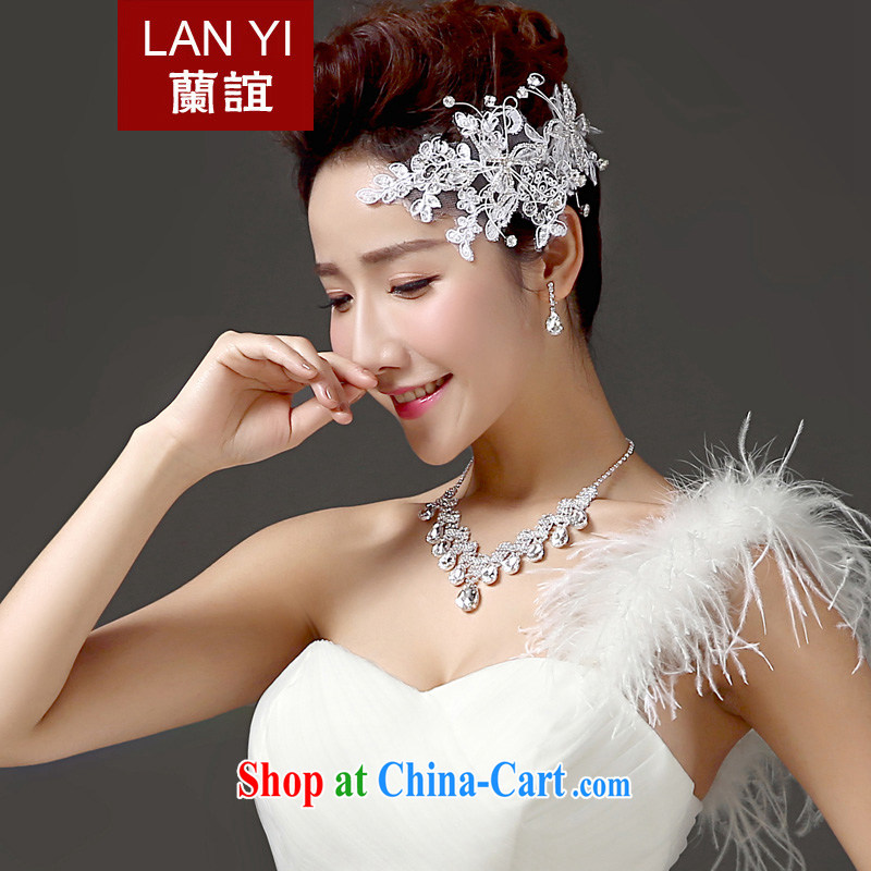 _Quakers_ estimated 2015 bridal wedding ceremony dress, 3-Piece Korean head-dress necklace earrings accessories accessories high quality water drilling jewelry 3 piece set