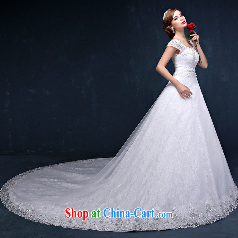2015 spring and summer new Korean lace shoulders larger graphics thin marriages long-tail strap wedding white XXL _waist 2.4_