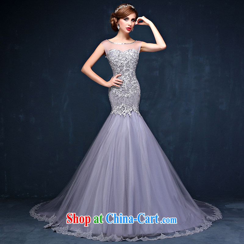 New spring and summer new Korean version lace shoulders the code graphics thin marriages cultivating long-tail wedding dresses gray XXL (waist 2.4)