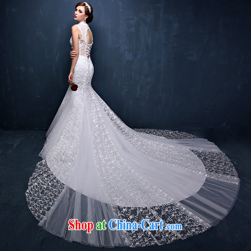 The field shoulder crowsfoot-tail wedding dresses 2015 summer Korean brides is also lace the code tie-back exposed wedding white XXL (waist 2.4)