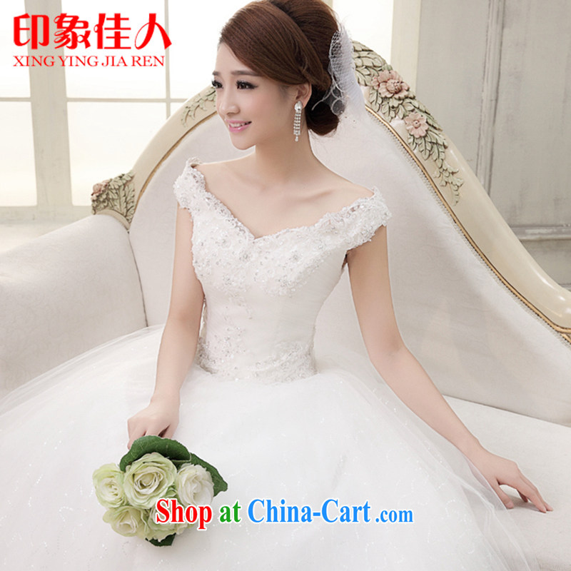 Leigh impression wedding dresses 2015 spring and summer new Korean layout double-shoulder with bridal graphics thin the Field shoulder wedding white A 0232 with S paragraph