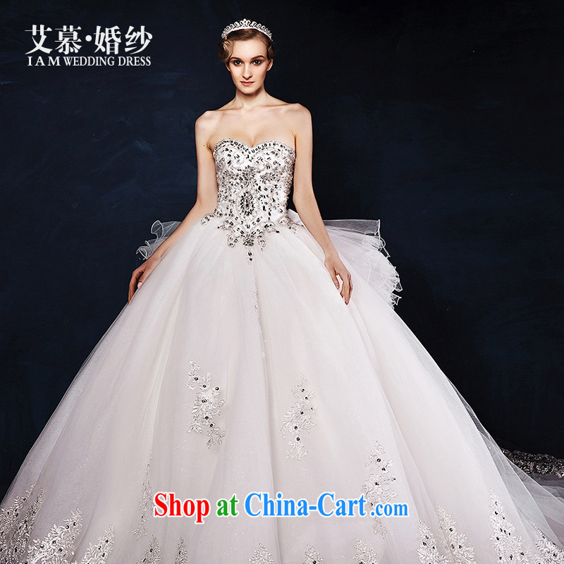 On the wedding dresses new 2015 Spring and Winter Wipe glass chest lace long-tail flash drill wedding luxury edition tailored