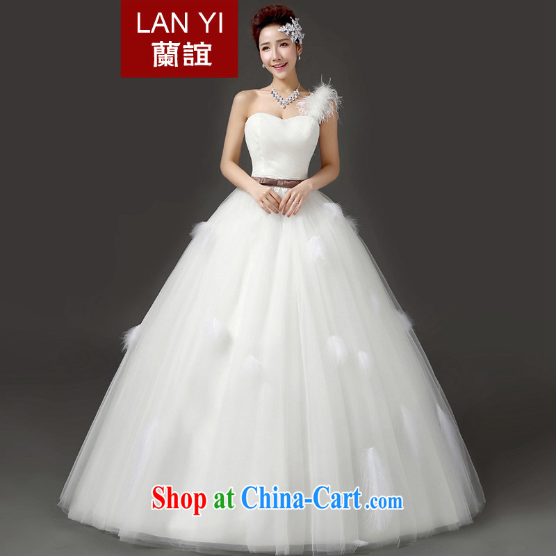 (Quakers) estimated 2015 bridal wedding dresses Korean version the Field shoulder marriage shaggy dress wedding single shoulder feather graphics thin with wedding white. Does Not Support RMA