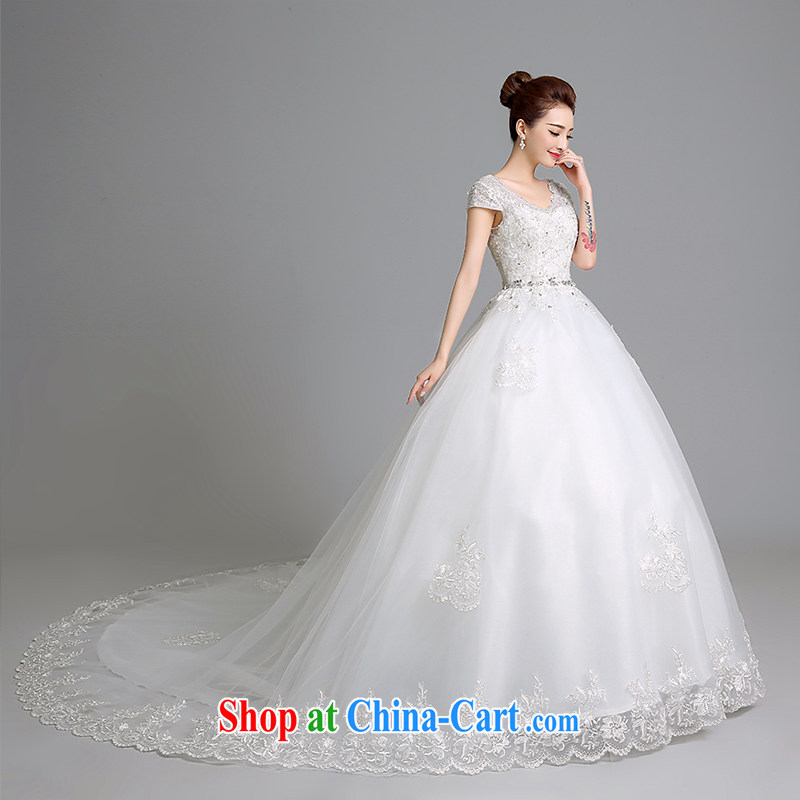 Sophie than AIDS summer 2015 new wedding dress White Dress Code the long-tail strap wedding shoulders V collar bridal wedding dresses female white XXL