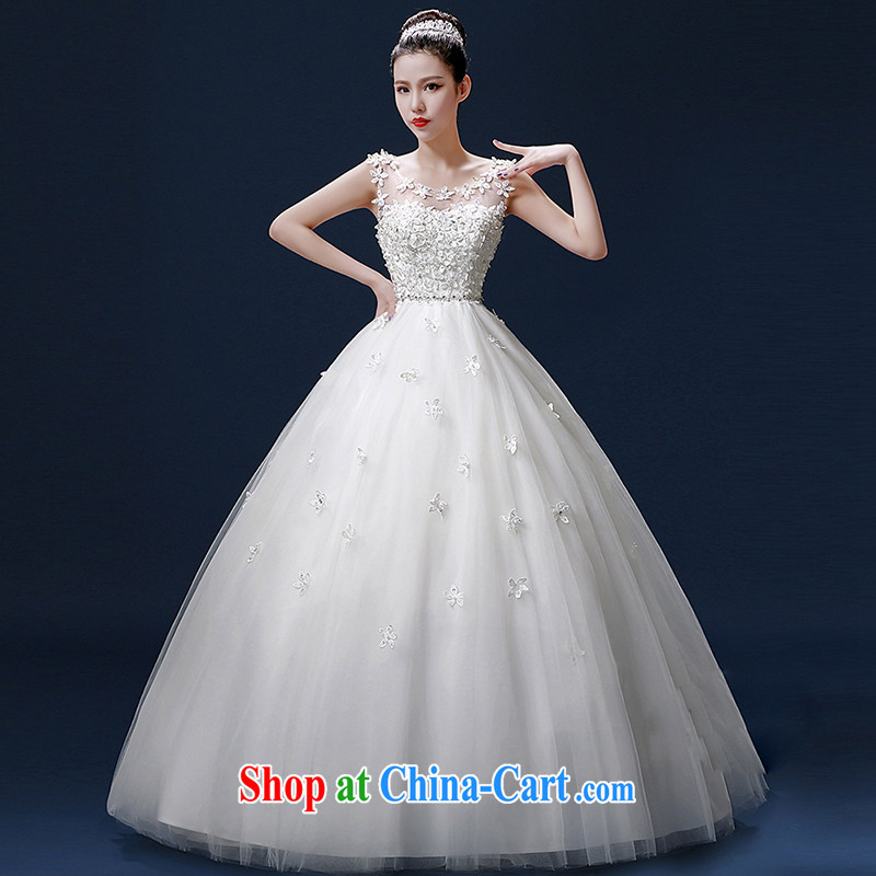 Bridal wedding dresses shoulders 2015 new summer fashion Korean sweet graphics thin with lace retro tie-down drill white. size does not return not-for-