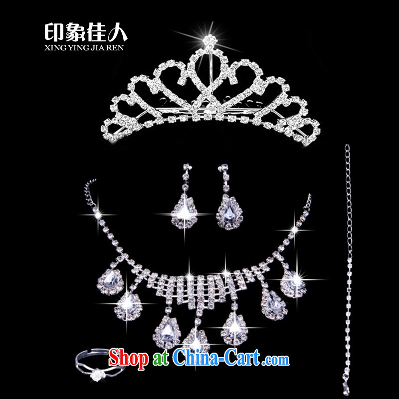 Leigh impression marriages water diamond necklace Crown Korean-style 3 piece set with new wedding dresses and jewelry