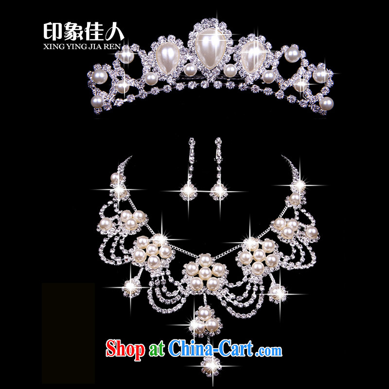 Leigh impression wedding accessories Korean bridal jewelry 3 piece set with Crown jewelry wedding jewelry wedding accessories silver