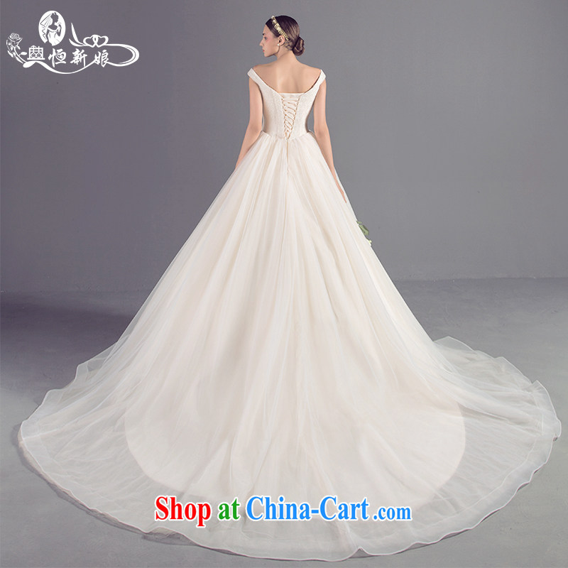 Code Hang Seng bridal new Korean lace V for simple girl wedding champagne color the tail field shoulder custom wedding high-end marriage private dress champagne color XL